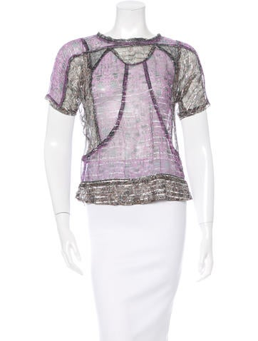 Isabel Marant Metallic-Accented Printed Top None