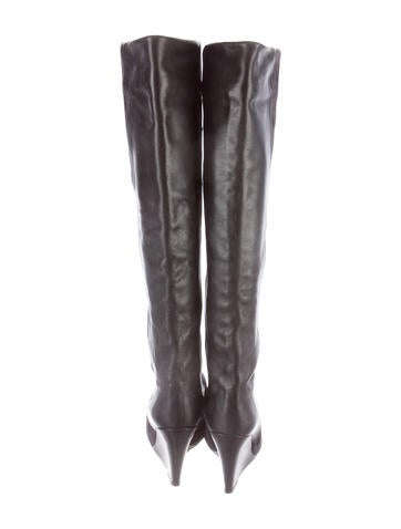 Suede Thigh-High Wedge Boots