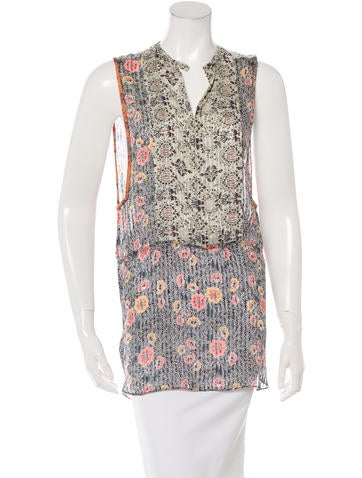 Isabel Marant Silk Floral Print Top None
