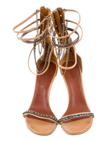 Chain-Embellished Multistrap Sandals