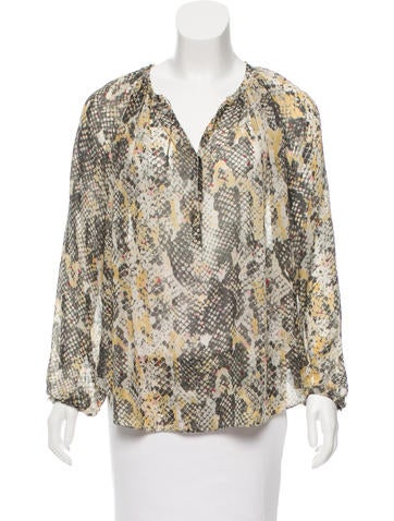 Isabel Marant Snakeskin Print Silk Top None