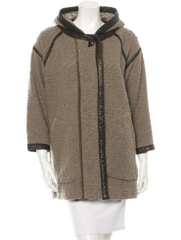 Isabel Marant Leather-Trimmed Knit Coat