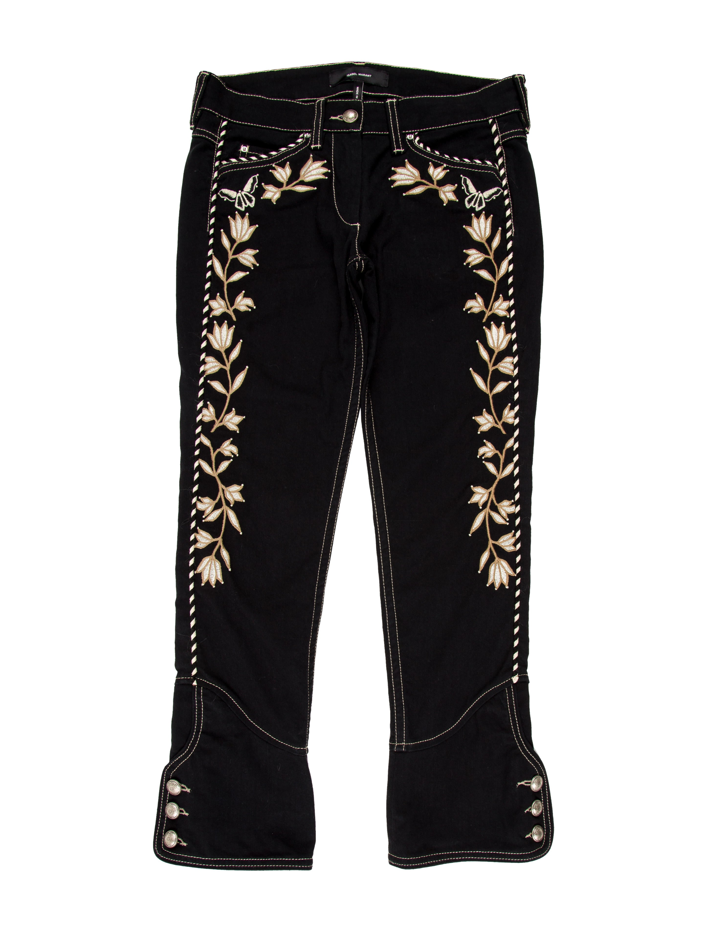 Isabel marant embroidered cropped jeans clothing
