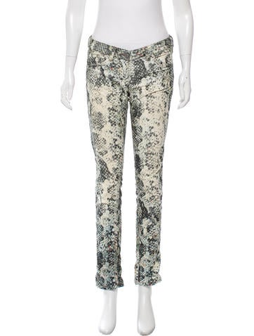 Snakeskin Print Straight-Leg Pants
