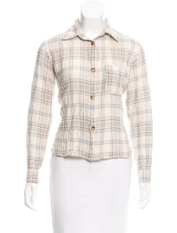 Isabel Marant Plaid Print Wool Top None