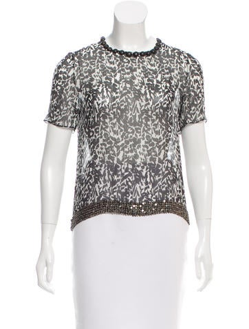 Isabel Marant Stud-Accented Silk Top None