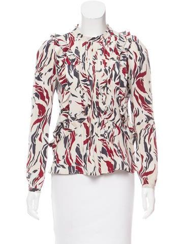 Isabel Marant Abstract Print Silk Top None