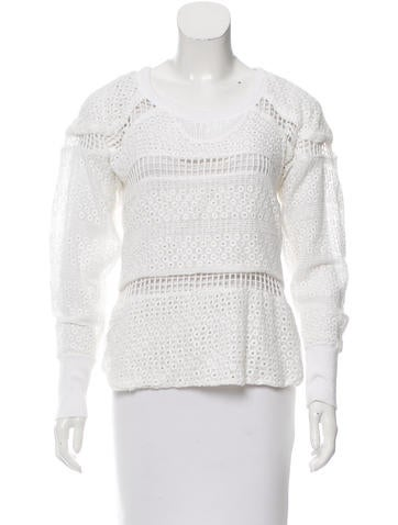 Isabel Marant Eyelet Long Sleeve Top None