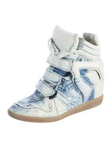 isabel marant denim basket wedge sneakers shoes isa42787 the realreal. Black Bedroom Furniture Sets. Home Design Ideas