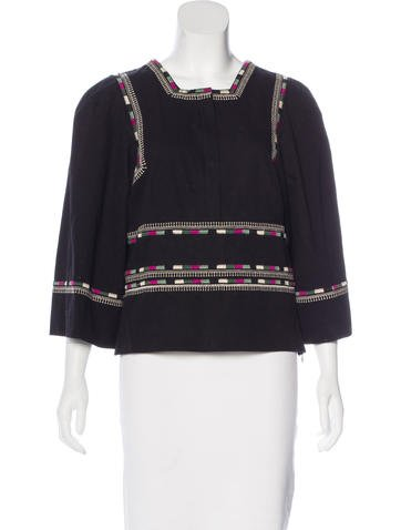 Isabel Marant Embroidered Long Sleeve Top None