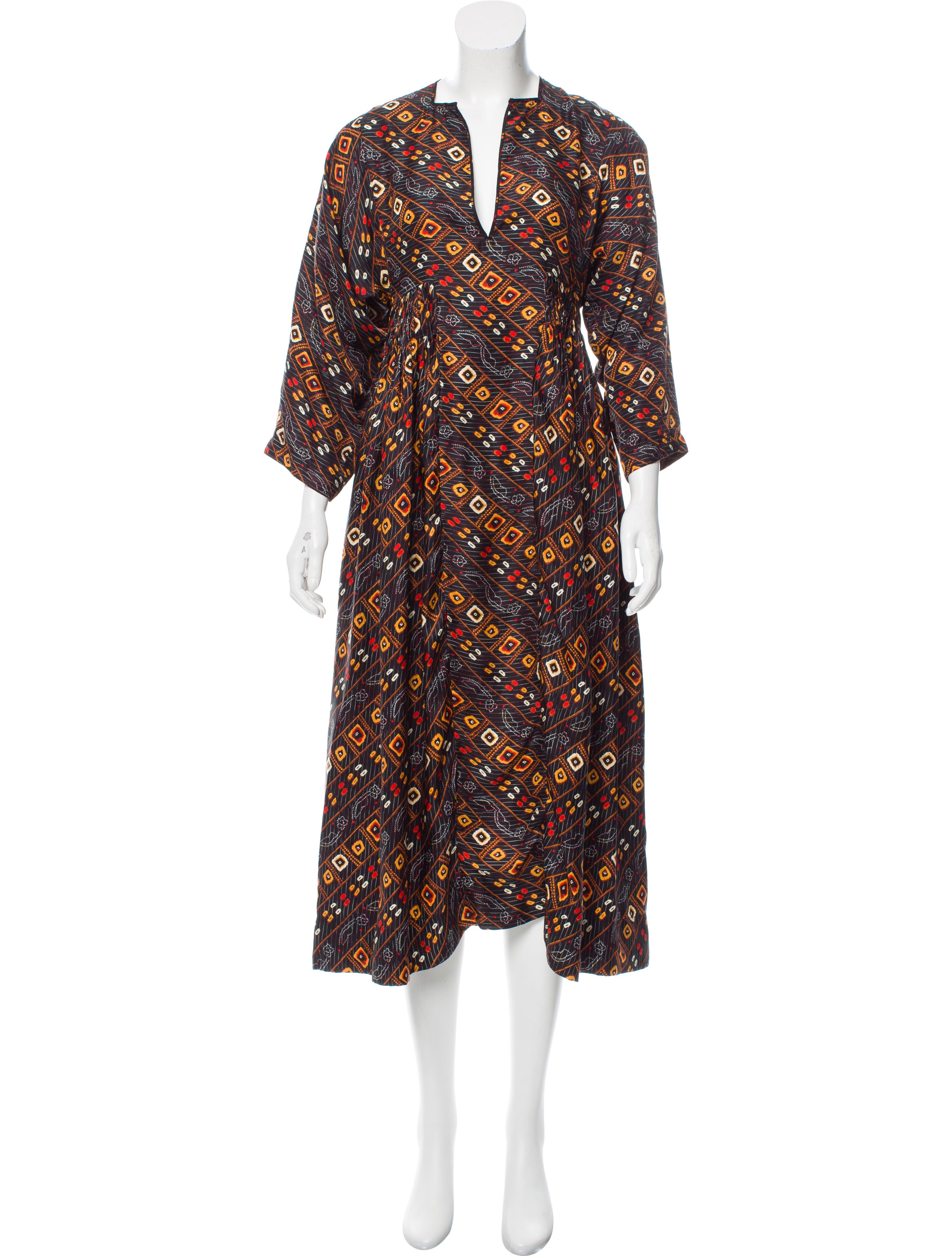 Isabel marant silk midi dress clothing isa43489 the for Isabel marant shirt dress