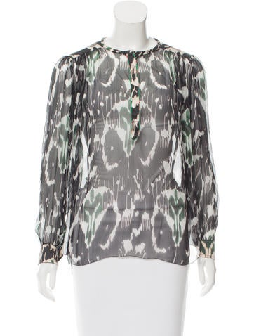 Isabel Marant Silk Abstract Top None