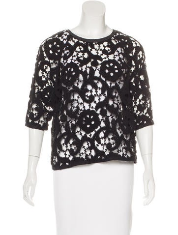 Isabel Marant Suede-Trimmed Lace Top None