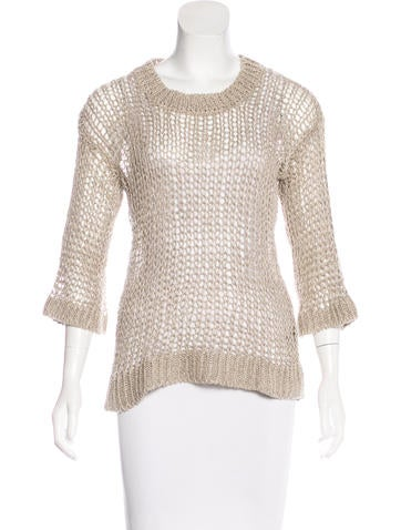 Isabel Marant Crew Neck Open Knit Sweater None