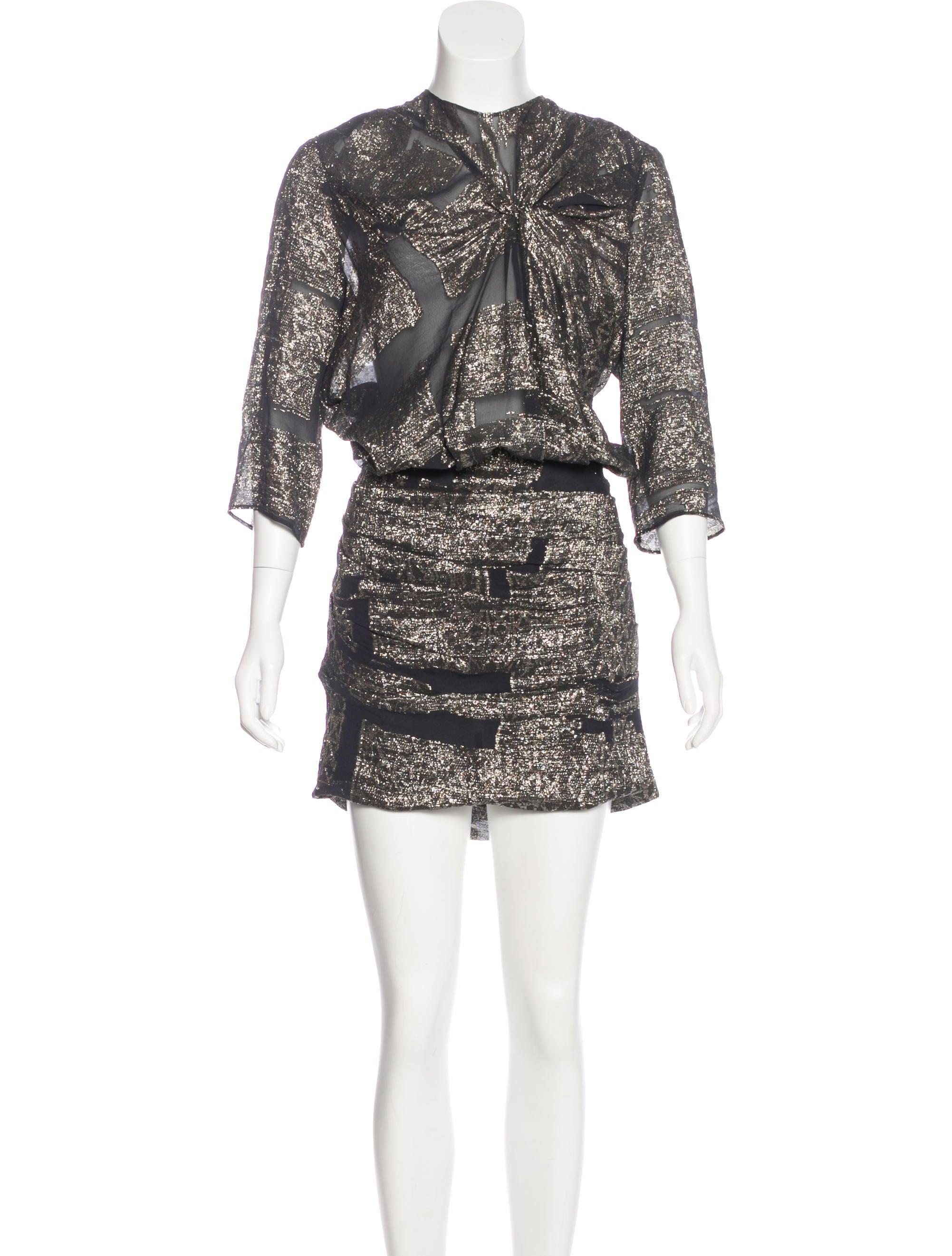 Isabel marant silk metallic dress clothing isa44938 for Isabel marant shirt dress