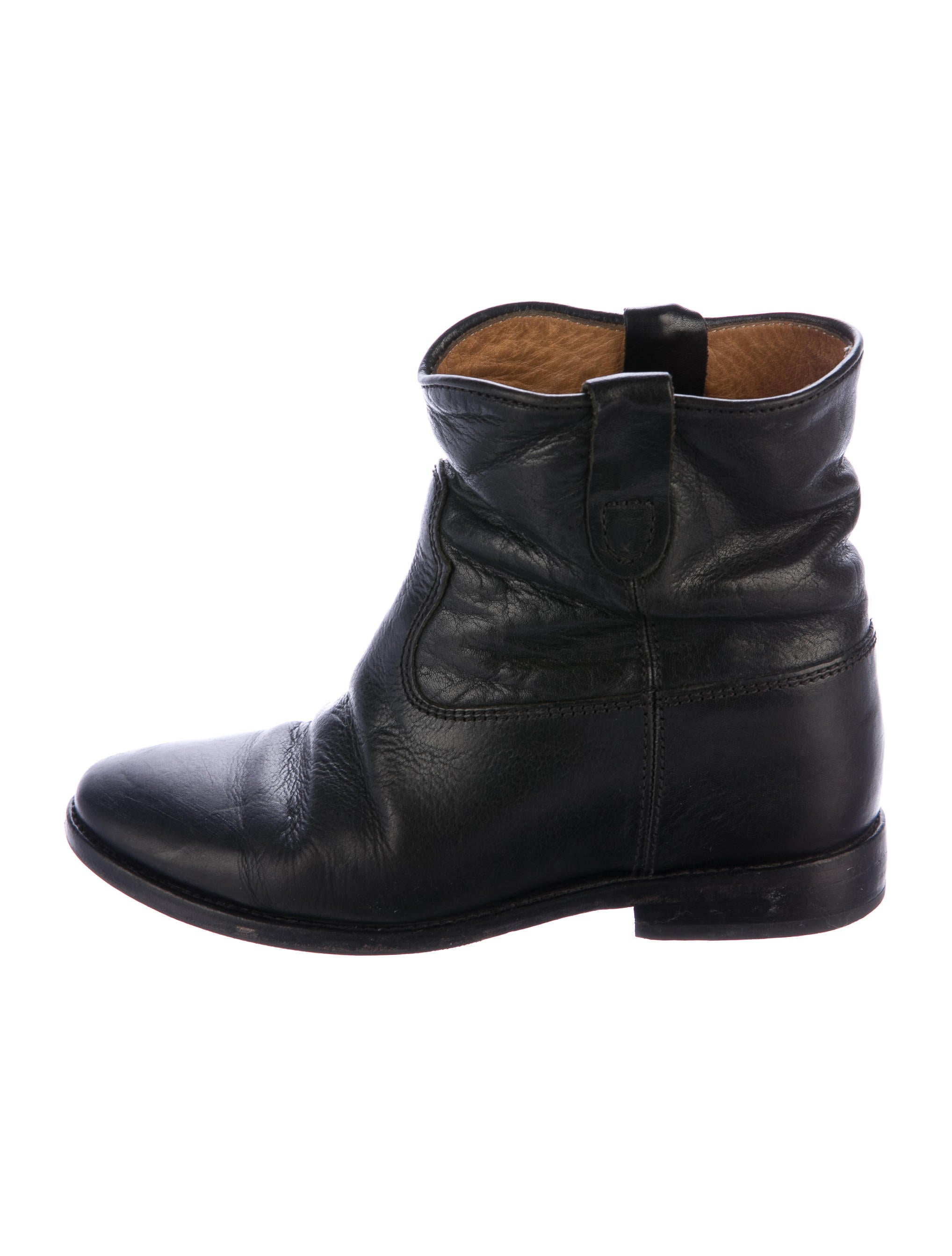 isabel marant leather round toe ankle boots shoes isa45920 the realreal. Black Bedroom Furniture Sets. Home Design Ideas