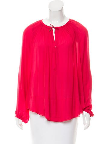 Isabel Marant Long Sleeve Tie-Accented Top None
