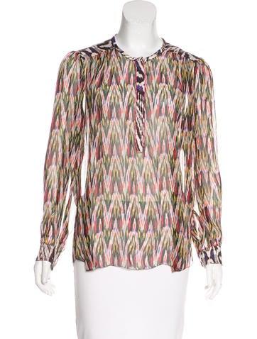 Isabel Marant Printed Long Sleeve Silk Top None