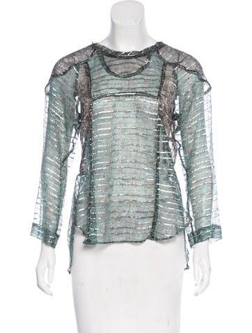 Isabel Marant Semi-Sheer Long Sleeve Top None