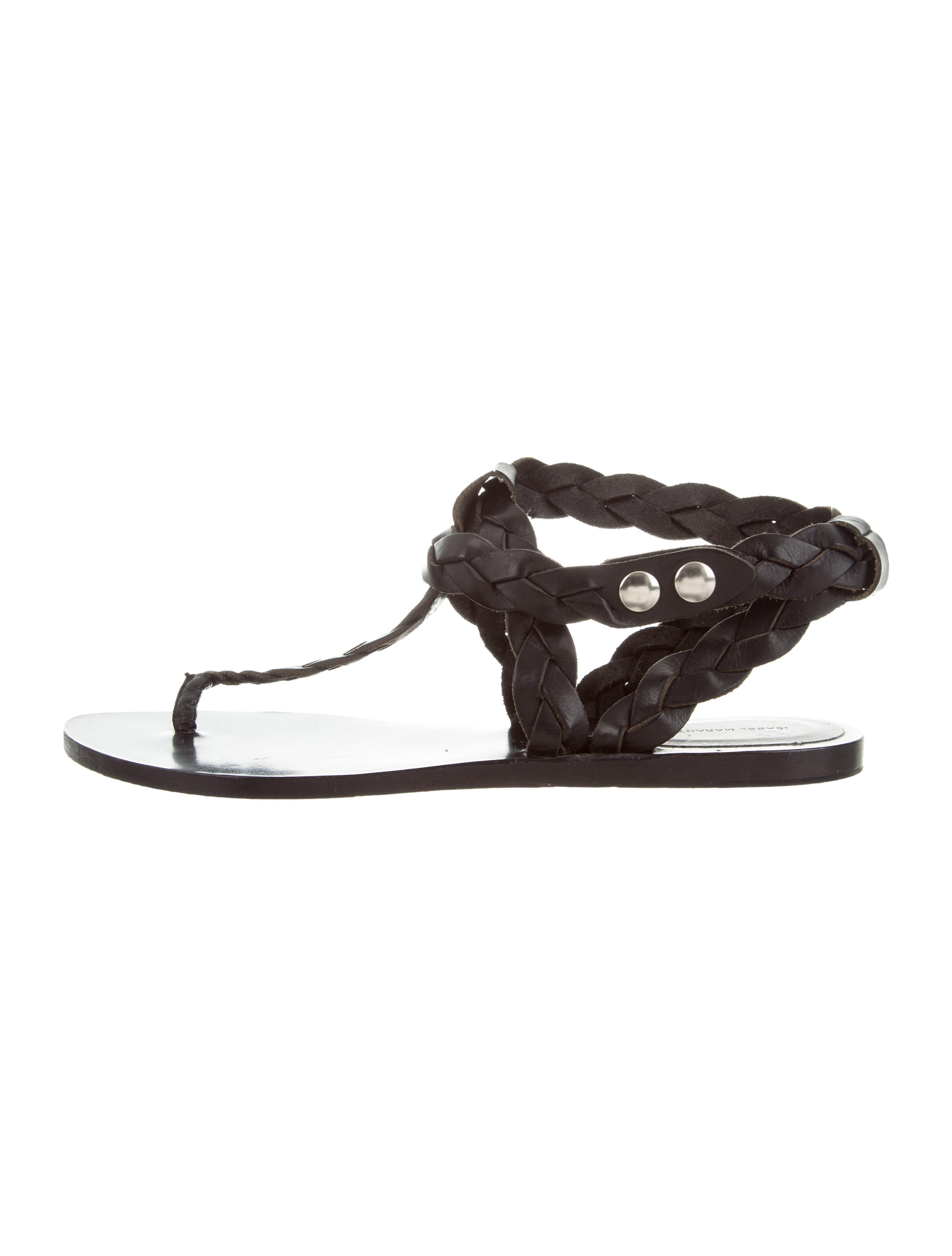 Isabel Marant Braided Leather T-Strap Sandals sale online store cheap in China with credit card sale online buy cheap nicekicks dVT69VSW