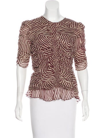 Isabel Marant Cinched Silk Printed Top None