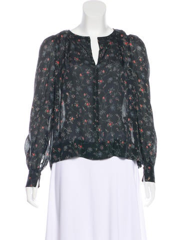Isabel Marant Floral Print Silk Blouse None