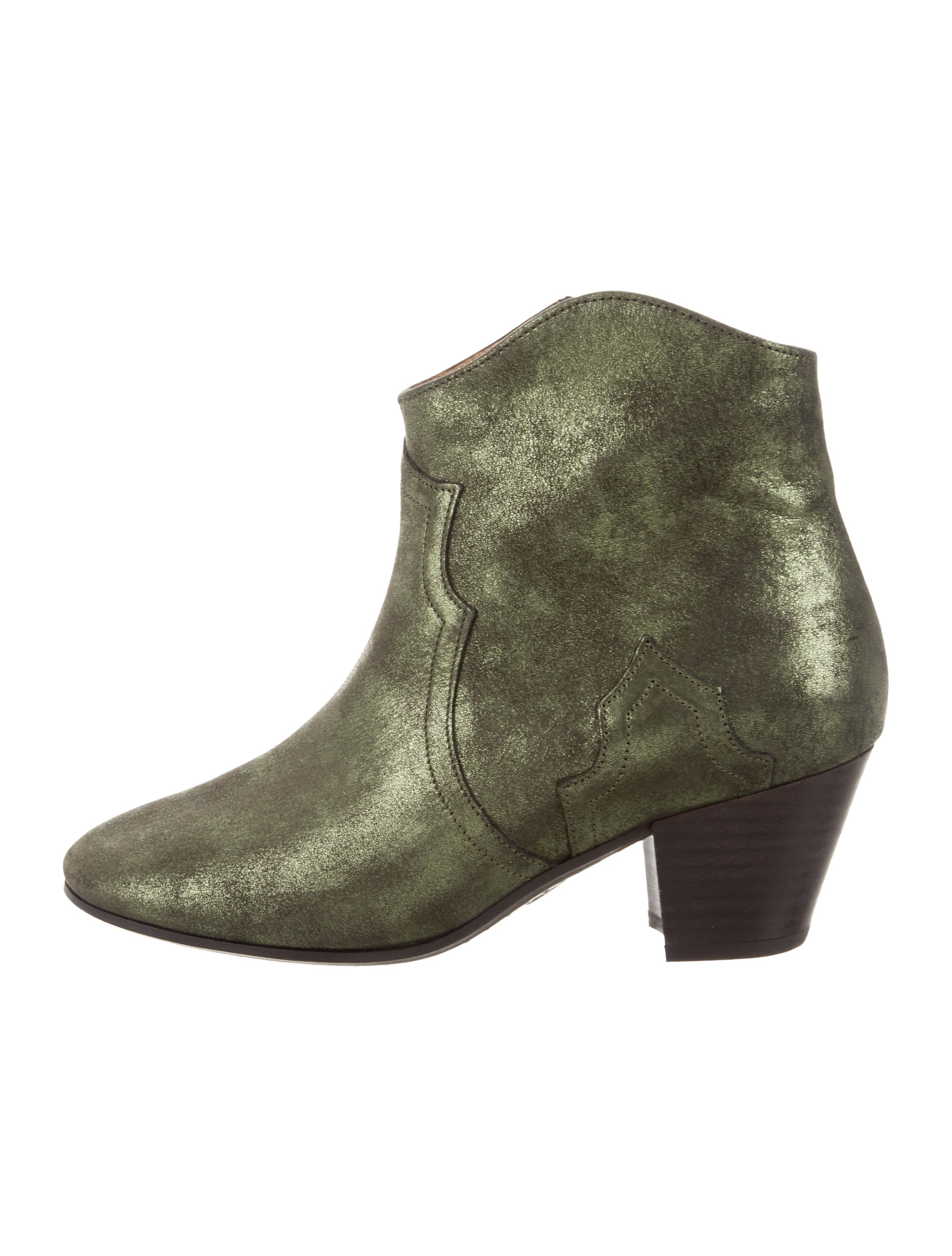 Isabel Marant Dicker Metallic Suede Booties w/ Tags discount 2014 new free shipping tumblr cheap sale view discounts footlocker JIzYJRb