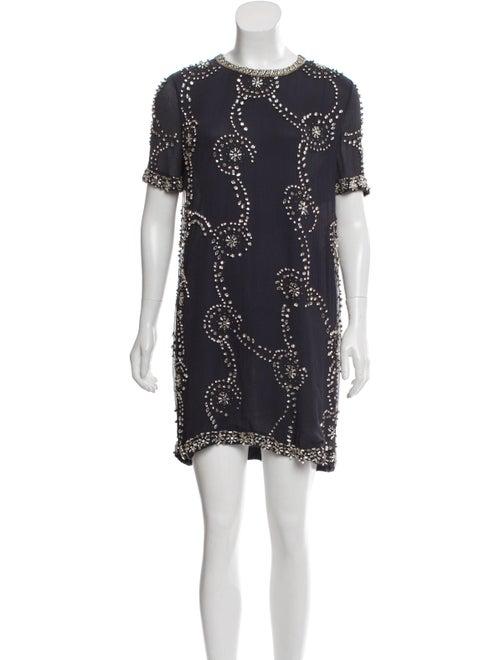 Isabel Marant Silk Embellished Dress Navy