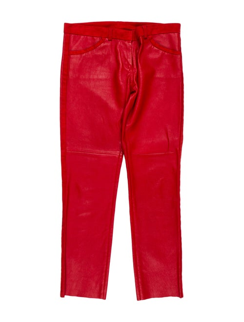 Isabel Marant Low-Rise Leather Pants Red