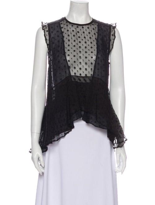 Isabel Marant Silk Lace Pattern Blouse Black