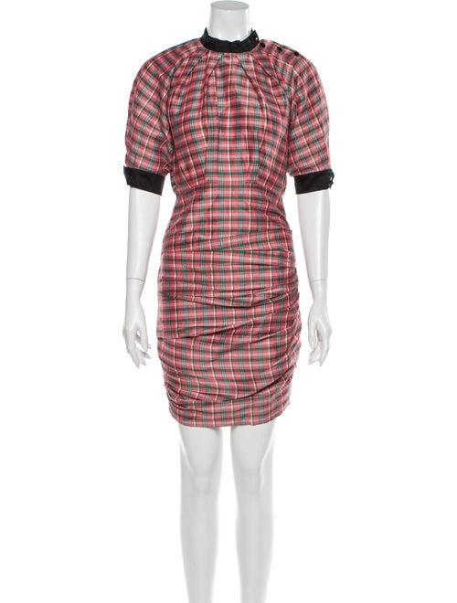 Isabel Marant Plaid Print Mini Dress Pink