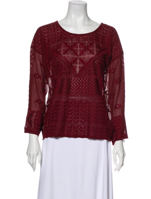 Isabel Marant Silk Lace Pattern Blouse Red