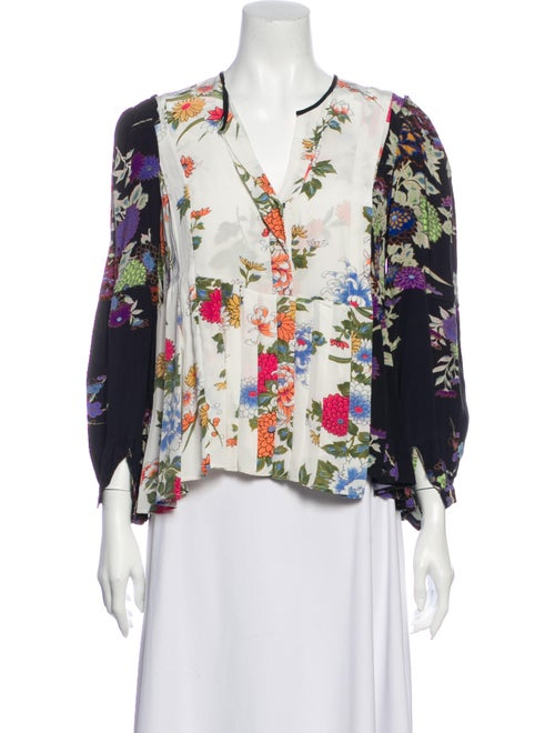 Isabel Marant Silk Floral Print Blouse w/ Tags Whi