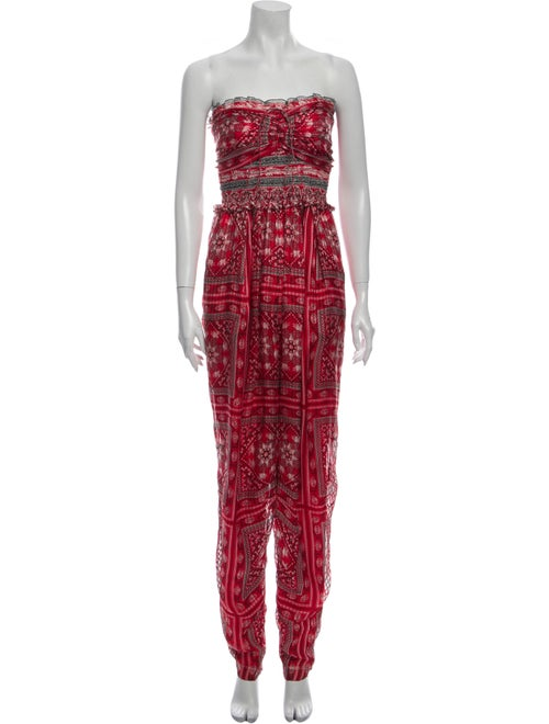 Isabel Marant Silk Printed Jumpsuit w/ Tags Red