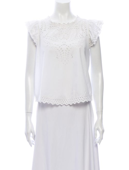 Isabel Marant Lace Pattern Crew Neck Blouse White