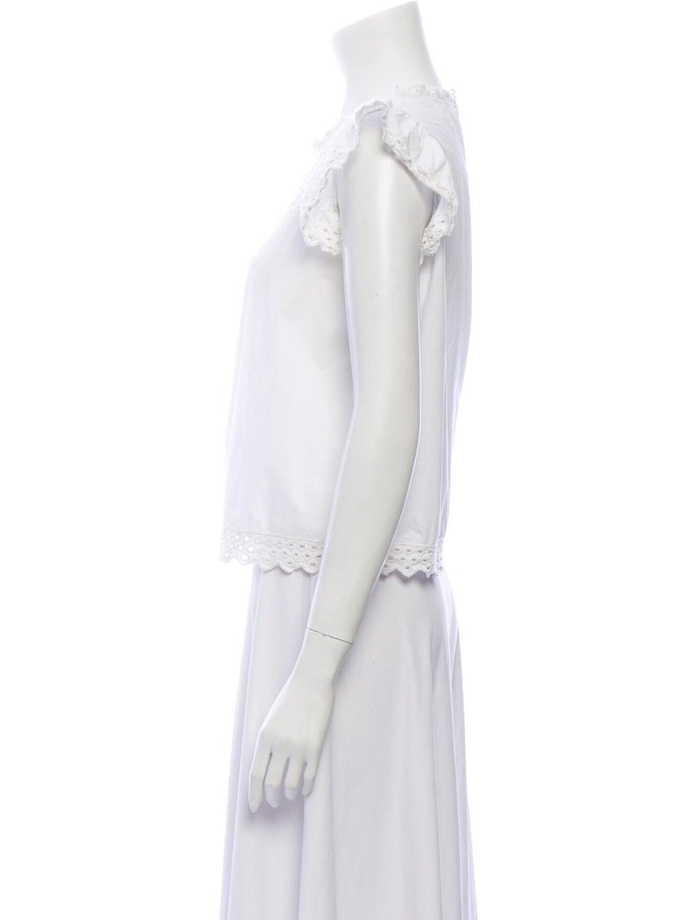 Isabel Marant Lace Pattern Crew Neck Blouse White - image 2