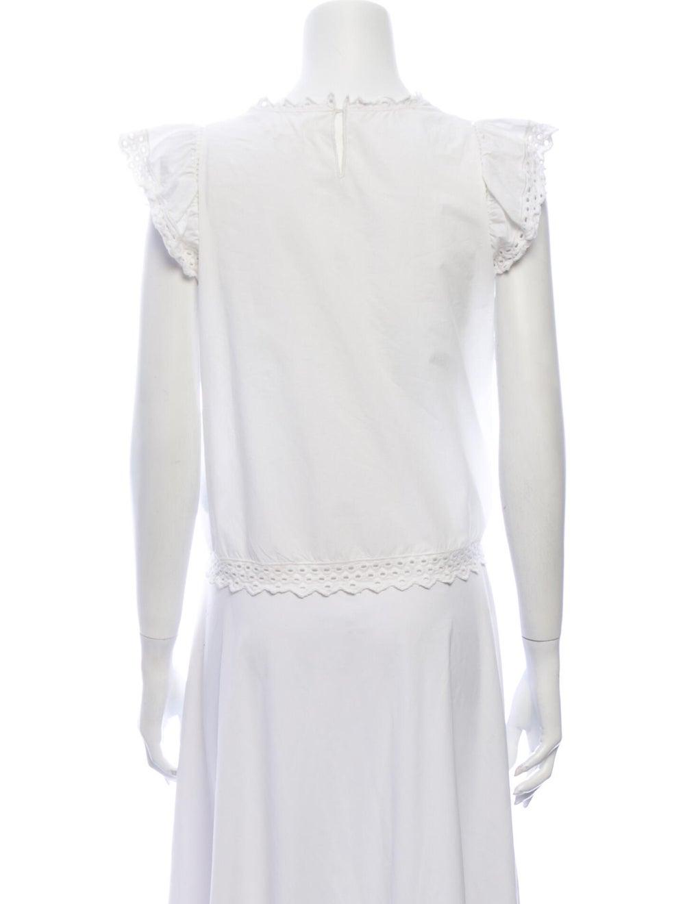 Isabel Marant Lace Pattern Crew Neck Blouse White - image 3
