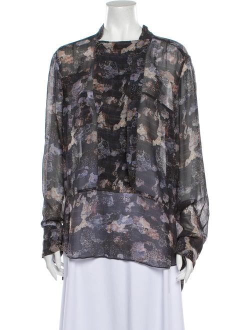 Isabel Marant Silk Floral Print Blouse Grey