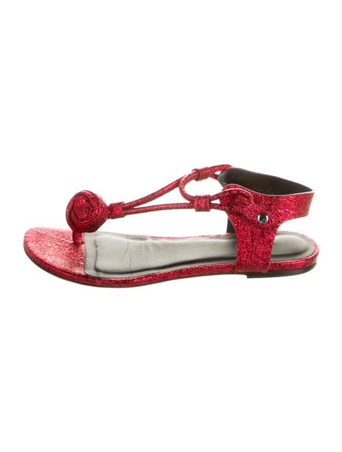 Isabel Marant Leather T-Strap Sandals Red