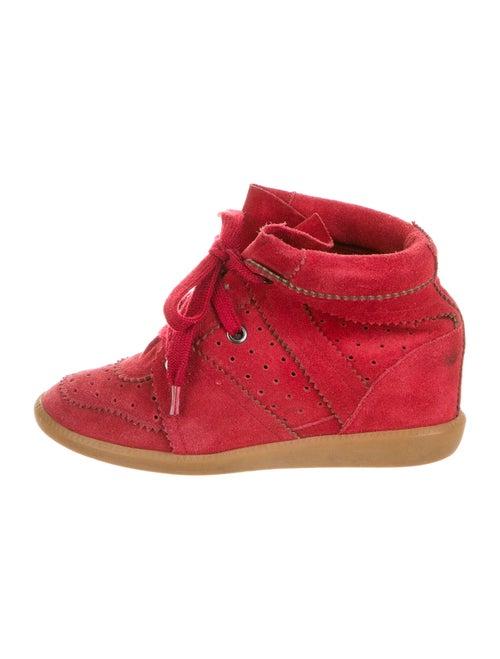 Isabel Marant Suede Wedge Sneakers Red