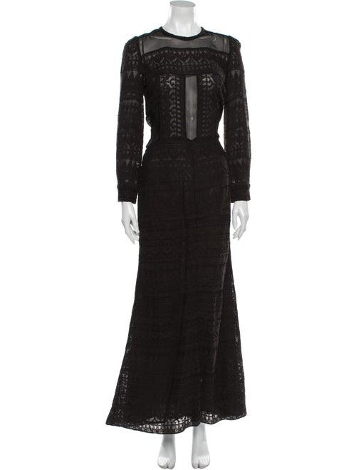 Isabel Marant Lace Pattern Long Dress Black