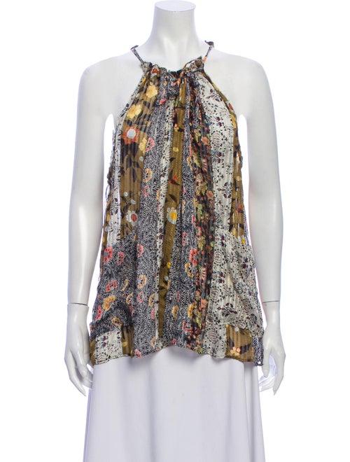 Isabel Marant Silk Floral Print Blouse Brown