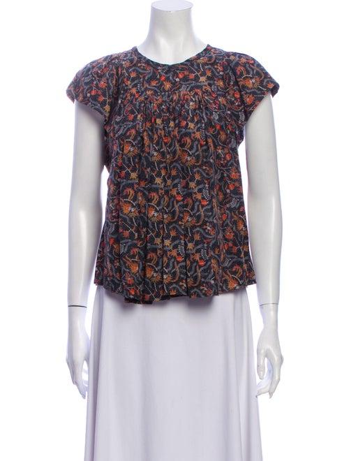 Isabel Marant Silk Floral Print Blouse Black