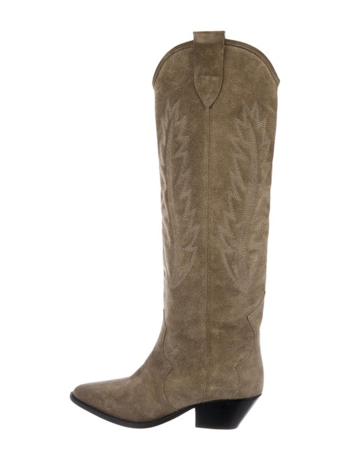 Isabel Marant Suede Printed Western Boots Green