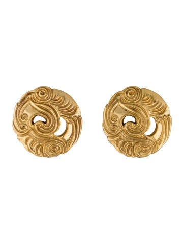Isabel Canovas Vintage Engraved Clip-On Earrings