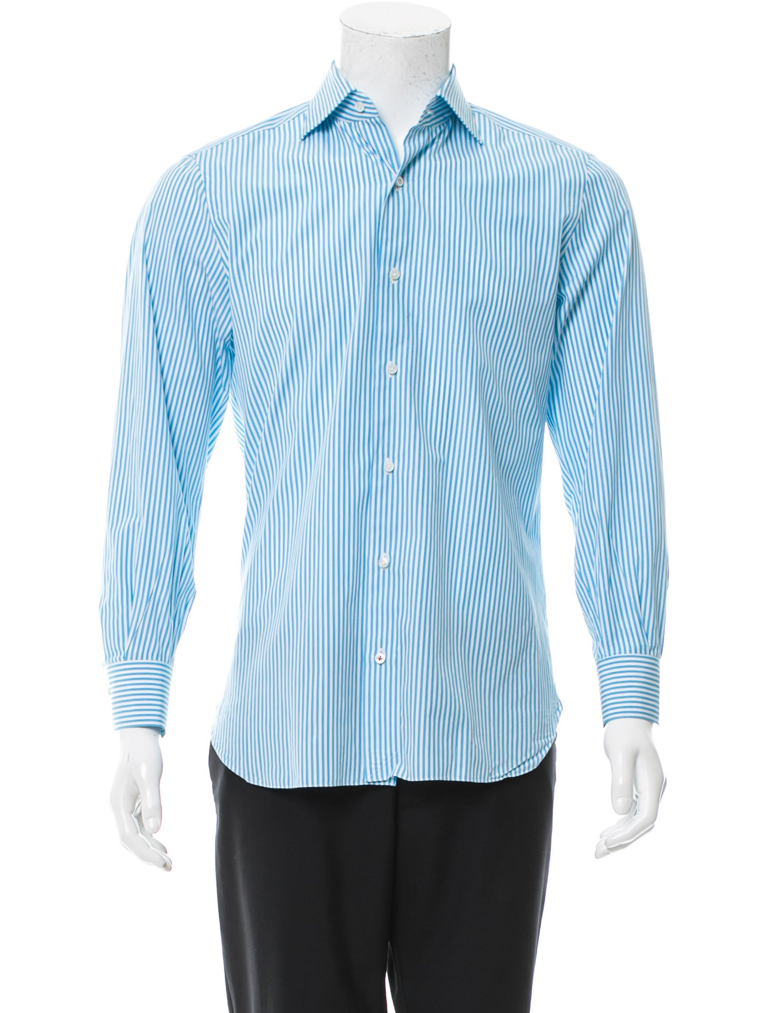 Isaia striped button up shirt clothing isi20271 the for Striped button up shirt mens