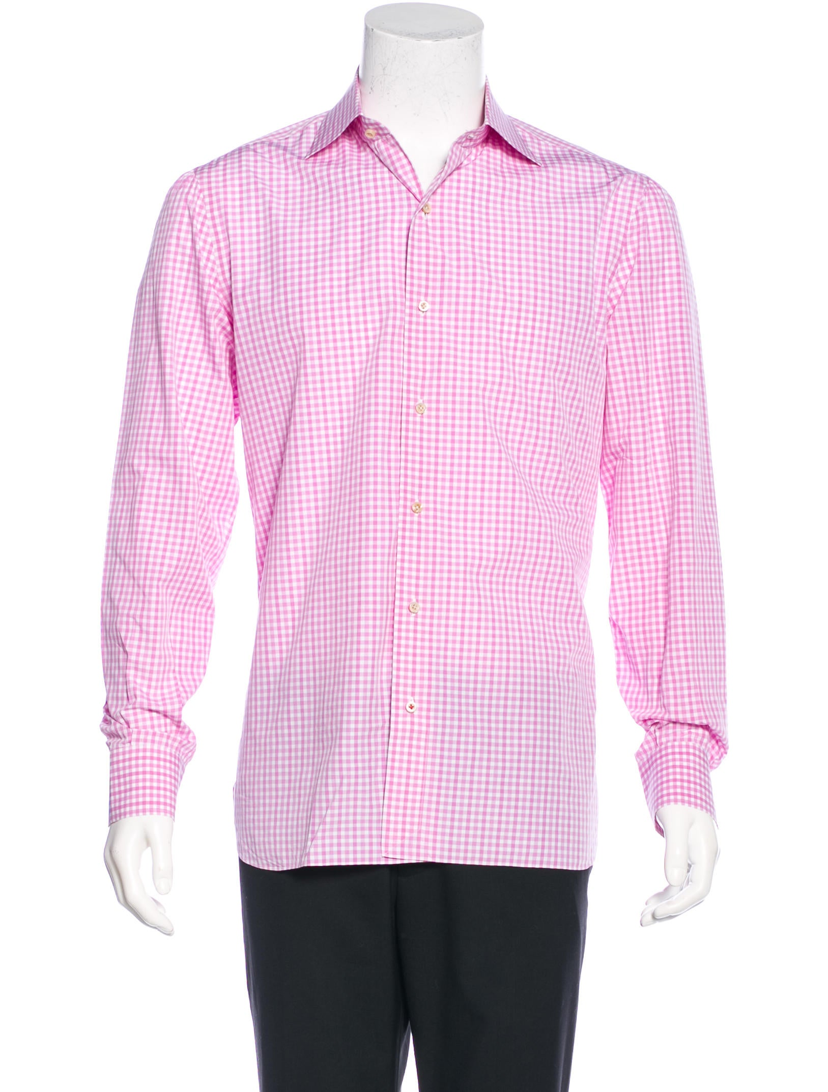 Isaia gingham dress shirt clothing isi20279 the realreal for Men s red gingham dress shirt