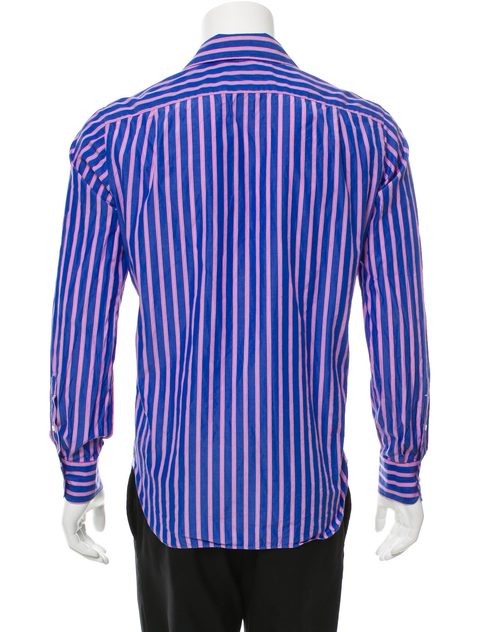 Isaia striped button up shirt clothing isi20456 the for Striped button up shirt mens