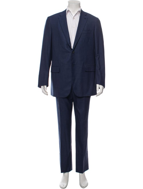 Isaia Houndstooth Wool Two-Piece Suit blue