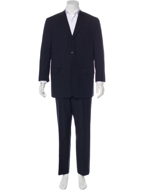 Isaia Wool Windowpane Two-Piece Suit navy